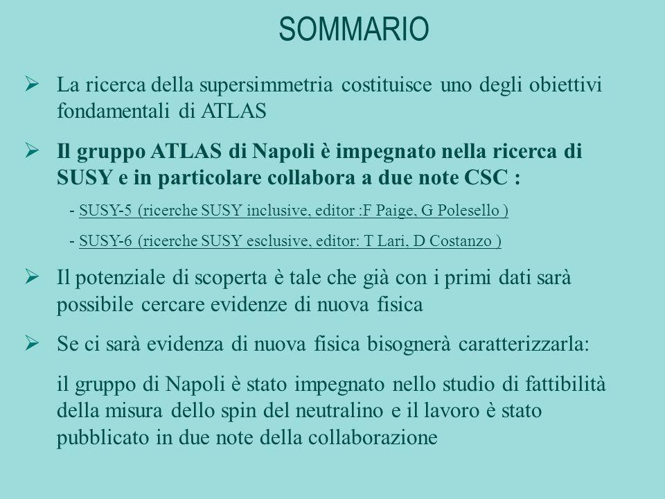 SOMMARIO La ricerca della supersimmetria costituisce uno degli obiettivi fondamentali di ATLAS Il gruppo ATLAS di Napoli è impegnato nella ricerca di SUSY e in particolare collabora a due note CSC : - SUSY-5 (ricerche SUSY inclusive, editor :F Paige, G Polesello ) - SUSY-6 (ricerche SUSY esclusive, editor: T Lari, D Costanzo ) Il potenziale di scoperta è tale che già con i primi dati sarà possibile cercare evidenze di nuova fisica Se ci sarà evidenza di nuova fisica bisognerà caratterizzarla: il gruppo di Napoli è stato impegnato nello studio di fattibilità della misura dello spin del neutralino e il lavoro è stato pubblicato in due note della collaborazione