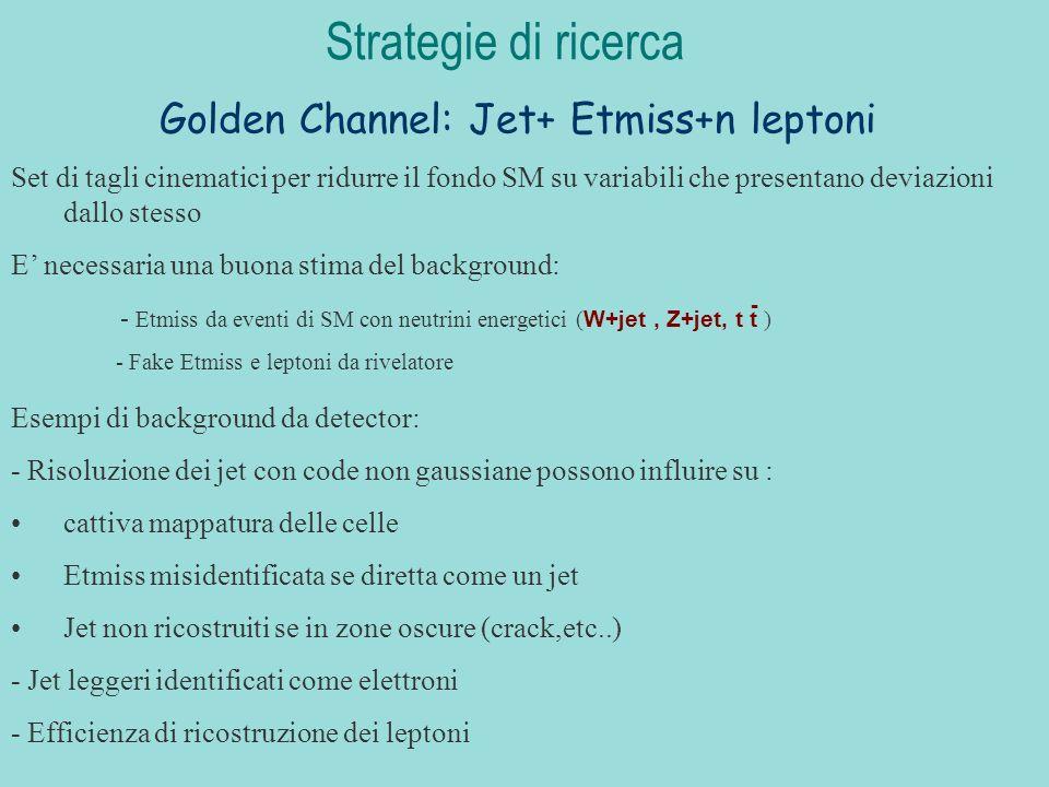 Golden Channel: Jet+ Etmiss+n leptoni Strategie di ricerca Set di tagli cinematici per ridurre il fondo SM su variabili che presentano deviazioni dallo stesso E necessaria una buona stima del background: - Etmiss da eventi di SM con neutrini energetici ( W+jet, Z+jet, t t ) - Fake Etmiss e leptoni da rivelatore - Esempi di background da detector: - Risoluzione dei jet con code non gaussiane possono influire su : cattiva mappatura delle celle Etmiss misidentificata se diretta come un jet Jet non ricostruiti se in zone oscure (crack,etc..) - Jet leggeri identificati come elettroni - Efficienza di ricostruzione dei leptoni