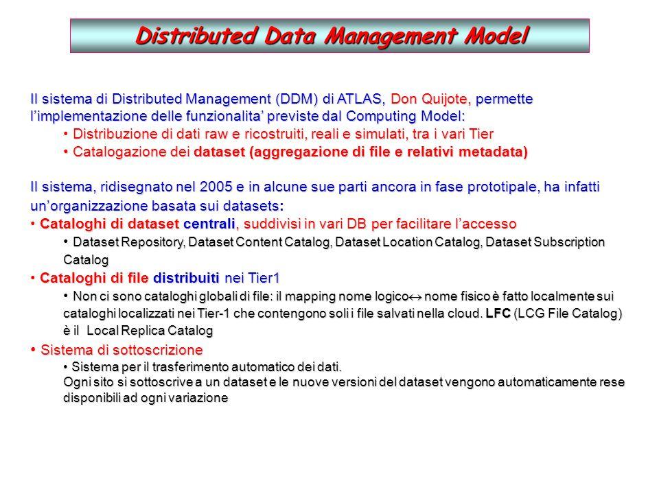 Distributed Data Management Model Il sistema di Distributed Management (DDM) di ATLAS, Don Quijote, permette limplementazione delle funzionalita previste dal Computing Model: Distribuzione di dati raw e ricostruiti, reali e simulati, tra i vari Tier Catalogazione dei dataset (aggregazione di file e relativi metadata) Catalogazione dei dataset (aggregazione di file e relativi metadata) Il sistema, ridisegnato nel 2005 e in alcune sue parti ancora in fase prototipale, ha infatti unorganizzazione basata sui datasets Il sistema, ridisegnato nel 2005 e in alcune sue parti ancora in fase prototipale, ha infatti unorganizzazione basata sui datasets: Cataloghi di dataset centrali, suddivisi in vari DB per facilitare laccesso Dataset Repository, Dataset Content Catalog, Dataset Location Catalog, Dataset Subscription Catalog Cataloghi di file distribuiti nei Tier1 Non ci sono cataloghi globali di file: il mapping nome logico nome fisico è fatto localmente sui cataloghi localizzati nei Tier-1 che contengono soli i file salvati nella cloud.
