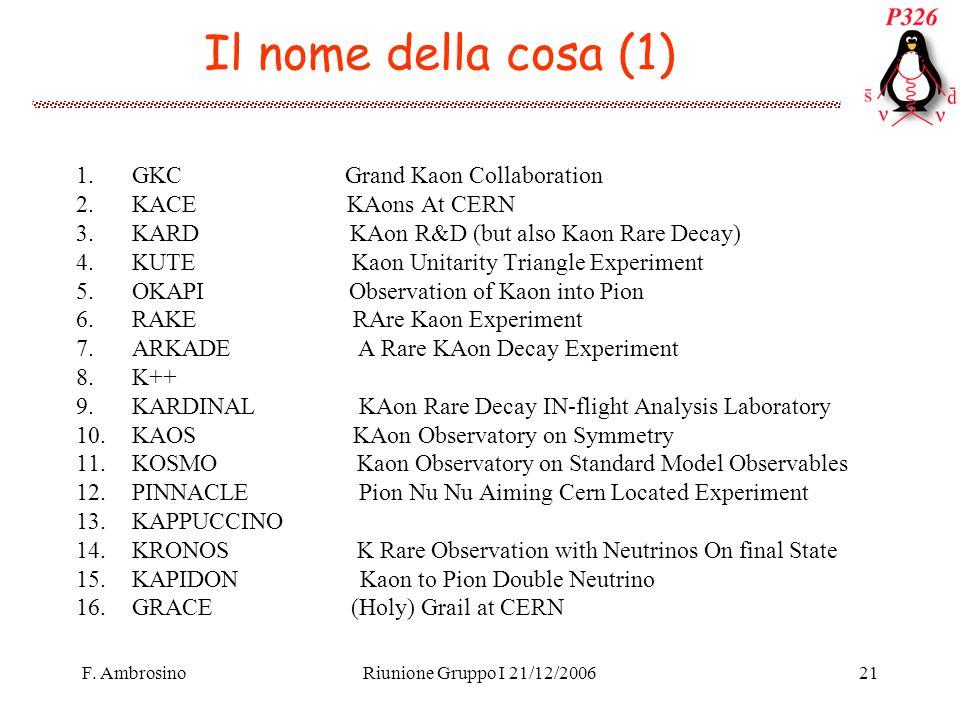 F. AmbrosinoRiunione Gruppo I 21/12/200621 Il nome della cosa (1) 1.GKC Grand Kaon Collaboration 2.KACE KAons At CERN 3.KARD KAon R&D (but also Kaon R