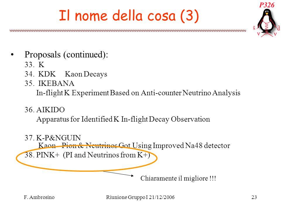 F. AmbrosinoRiunione Gruppo I 21/12/200623 Il nome della cosa (3) Proposals (continued): 33.K 34.