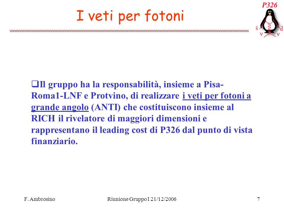 F. AmbrosinoRiunione Gruppo I 21/12/20067 I veti per fotoni Il gruppo ha la responsabilità, insieme a Pisa- Roma1-LNF e Protvino, di realizzare i veti