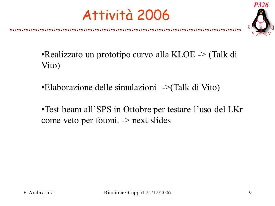 F. AmbrosinoRiunione Gruppo I 21/12/20069 Attività 2006 Realizzato un prototipo curvo alla KLOE -> (Talk di Vito) Elaborazione delle simulazioni ->(Ta