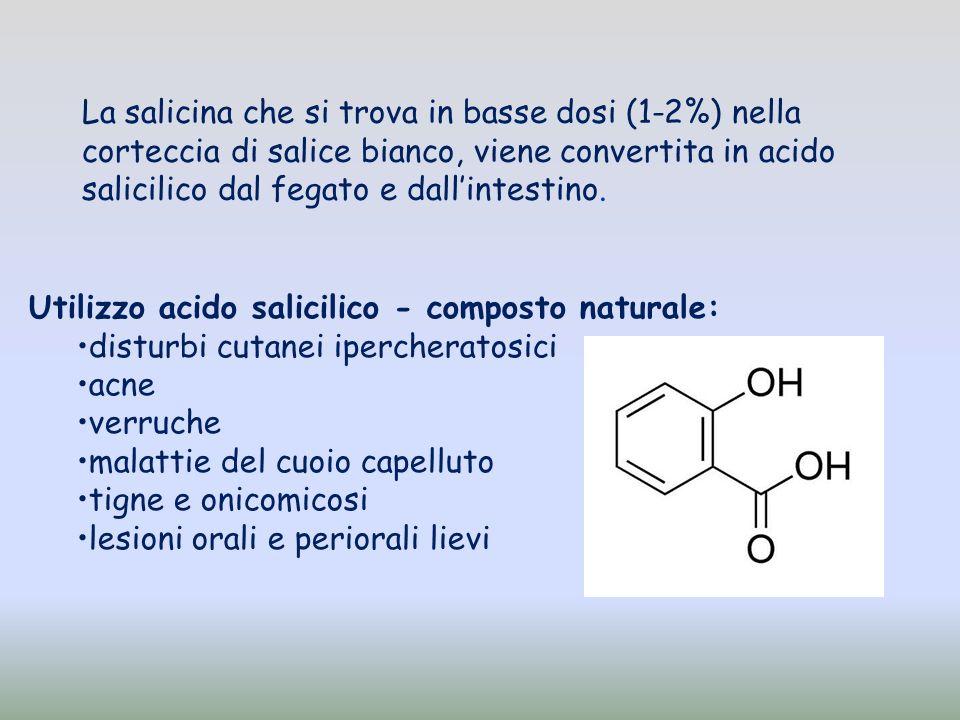Utilizzo acido salicilico - composto naturale: disturbi cutanei ipercheratosici acne verruche malattie del cuoio capelluto tigne e onicomicosi lesioni
