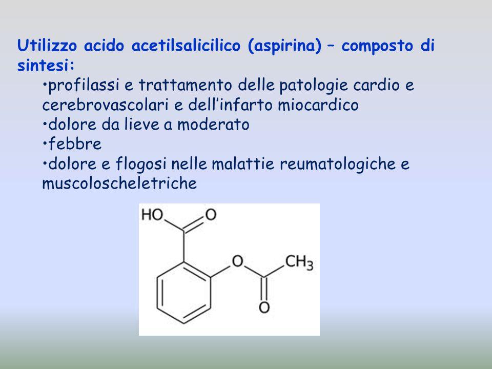 Utilizzo acido acetilsalicilico (aspirina) – composto di sintesi: profilassi e trattamento delle patologie cardio e cerebrovascolari e dellinfarto miocardico dolore da lieve a moderato febbre dolore e flogosi nelle malattie reumatologiche e muscoloscheletriche