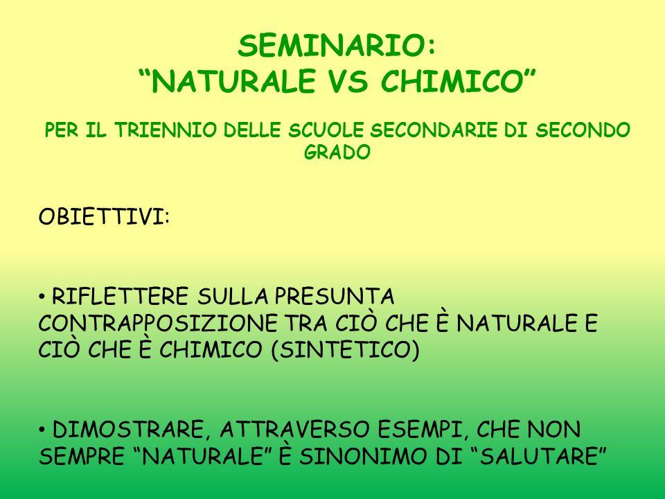 SEMINARIO: NATURALE VS CHIMICO PER IL TRIENNIO DELLE SCUOLE SECONDARIE DI SECONDO GRADO OBIETTIVI: RIFLETTERE SULLA PRESUNTA CONTRAPPOSIZIONE TRA CIÒ CHE È NATURALE E CIÒ CHE È CHIMICO (SINTETICO) DIMOSTRARE, ATTRAVERSO ESEMPI, CHE NON SEMPRE NATURALE È SINONIMO DI SALUTARE