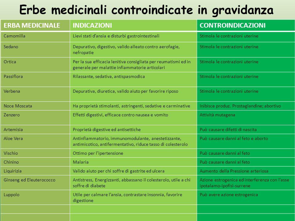 Erbe medicinali controindicate in gravidanza ERBA MEDICINALEINDICAZIONICONTROINDICAZIONI CamomillaLievi stati dansia e disturbi gastrointestinaliStimo