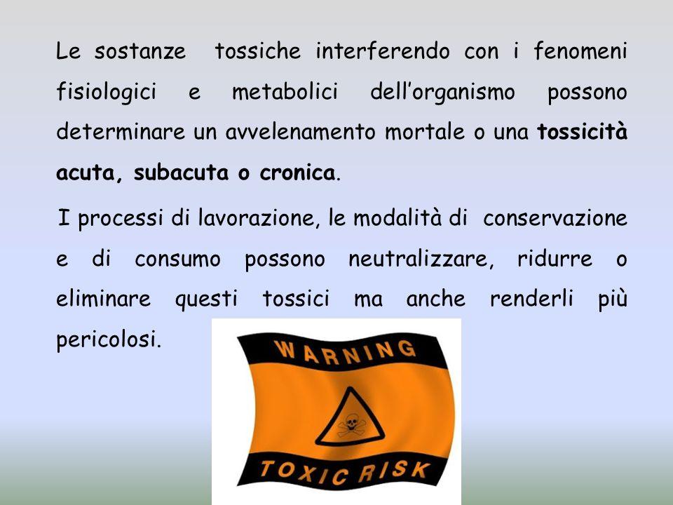 Le sostanze tossiche interferendo con i fenomeni fisiologici e metabolici dellorganismo possono determinare un avvelenamento mortale o una tossicità acuta, subacuta o cronica.