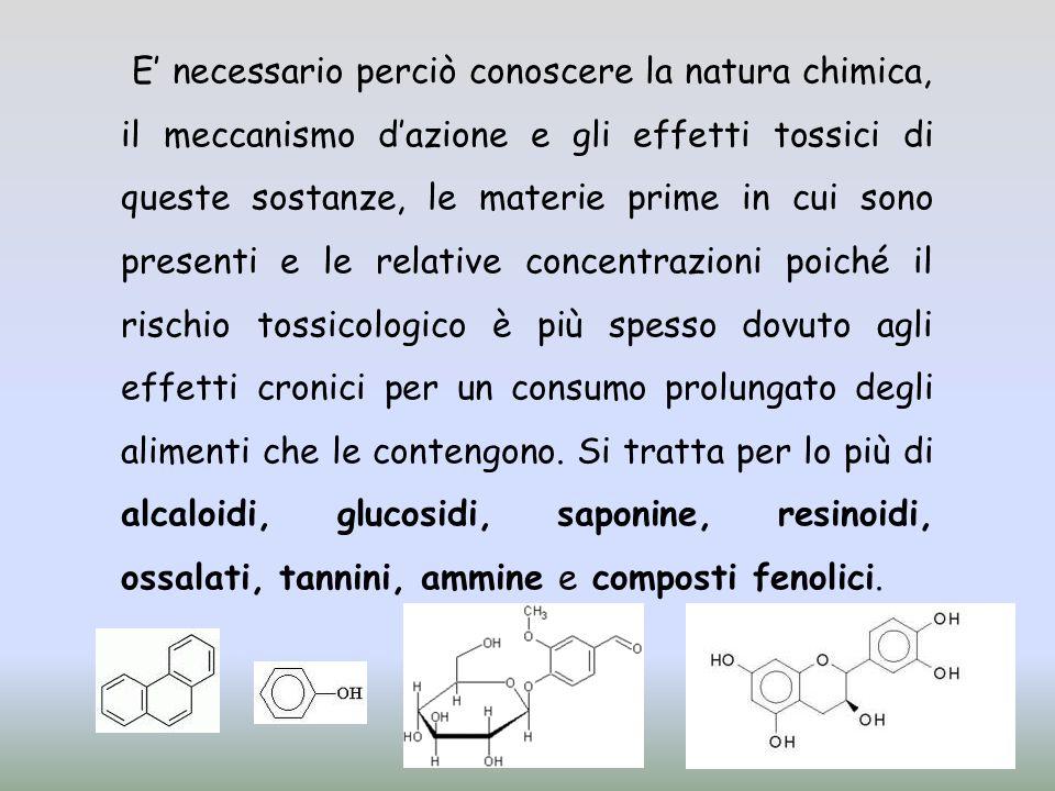 E necessario perciò conoscere la natura chimica, il meccanismo dazione e gli effetti tossici di queste sostanze, le materie prime in cui sono presenti