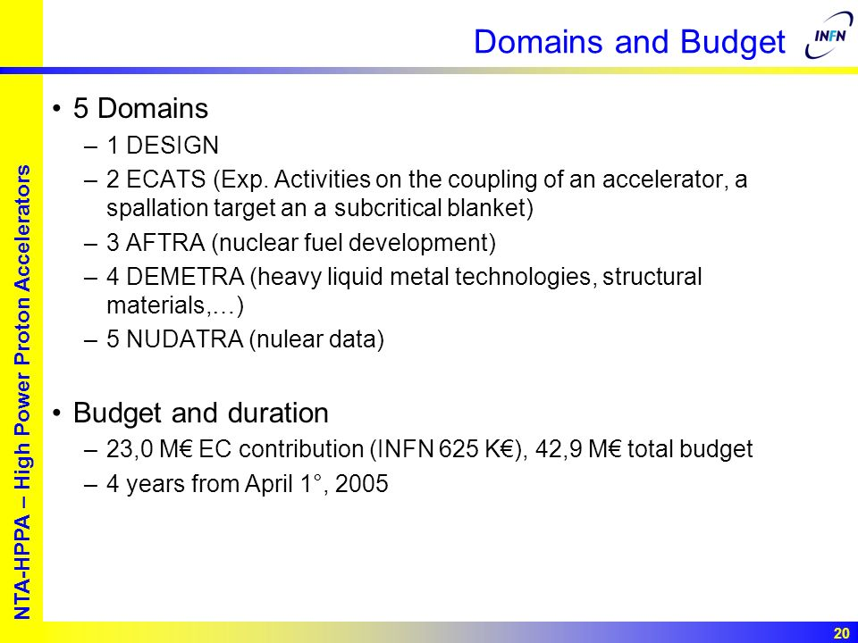 European studies for nuclear waste transmutation NTA-HPPA – High Power Proton Accelerators 20 Domains and Budget 5 Domains –1 DESIGN –2 ECATS (Exp. Ac