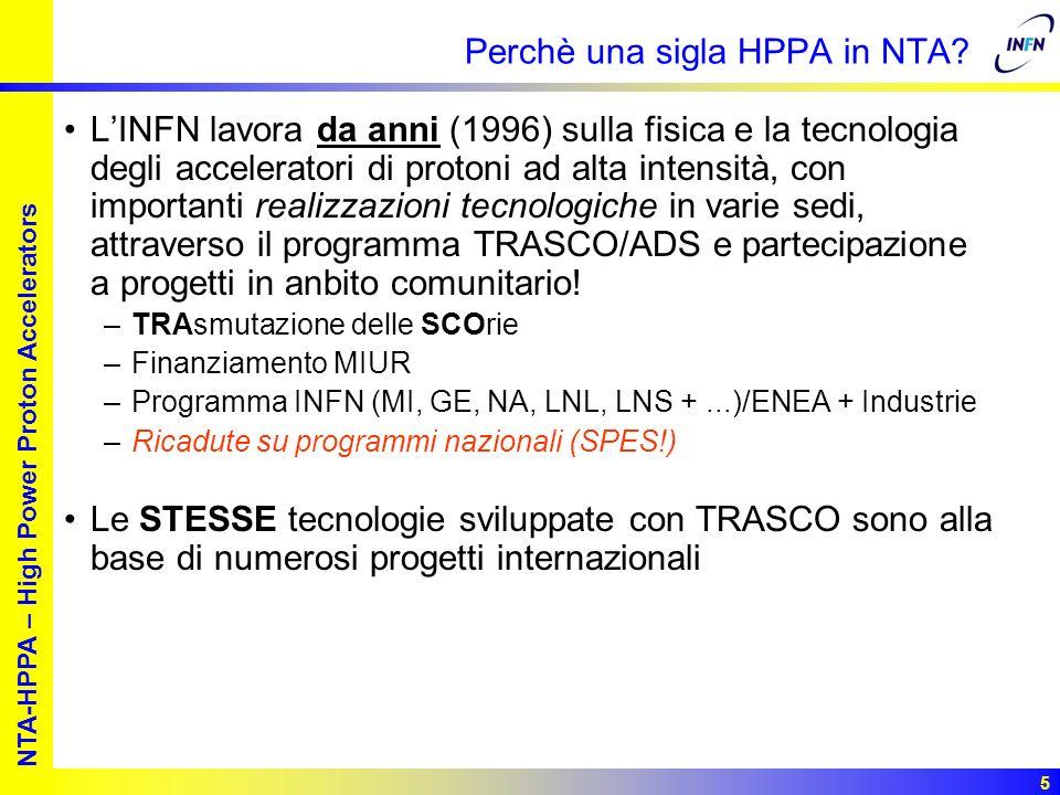 European studies for nuclear waste transmutation NTA-HPPA – High Power Proton Accelerators 6 Le proposte e i progetti di HPPA mondiali JPARC, Joint KEK/JAERI, in costruzione –Fase I: 3 GeV per una spallation source/50 GeV per alte energie –Fase II: 600 MeV per trasmutazione SNS, Spallation Neutron Source, In costruzione –1.4 MW di fascio sul target (1 GeV, 1.4 mA) Proton Driver 8 GeV a FNAL –macchina multipurpose (e-, p, H-,,...) SPL (passando per LINAC4) –Prima fase in 6PQ:CARE-HIPPI –Stesura del CDR2 con aggiornamento a 4 GeV Programmi per la trasmutazione –5PQ:PDS-XADS verso 6PQ:EUROTRANS Facility per Fasci Radioattivi –EURISOL-DS (1 GeV – 5 mA), SPES-1 (20 MeV – 10 mA) MOU e disegno cavità Firmato il DS Partner CERN chiede partecipazione Partner Leadership INFN