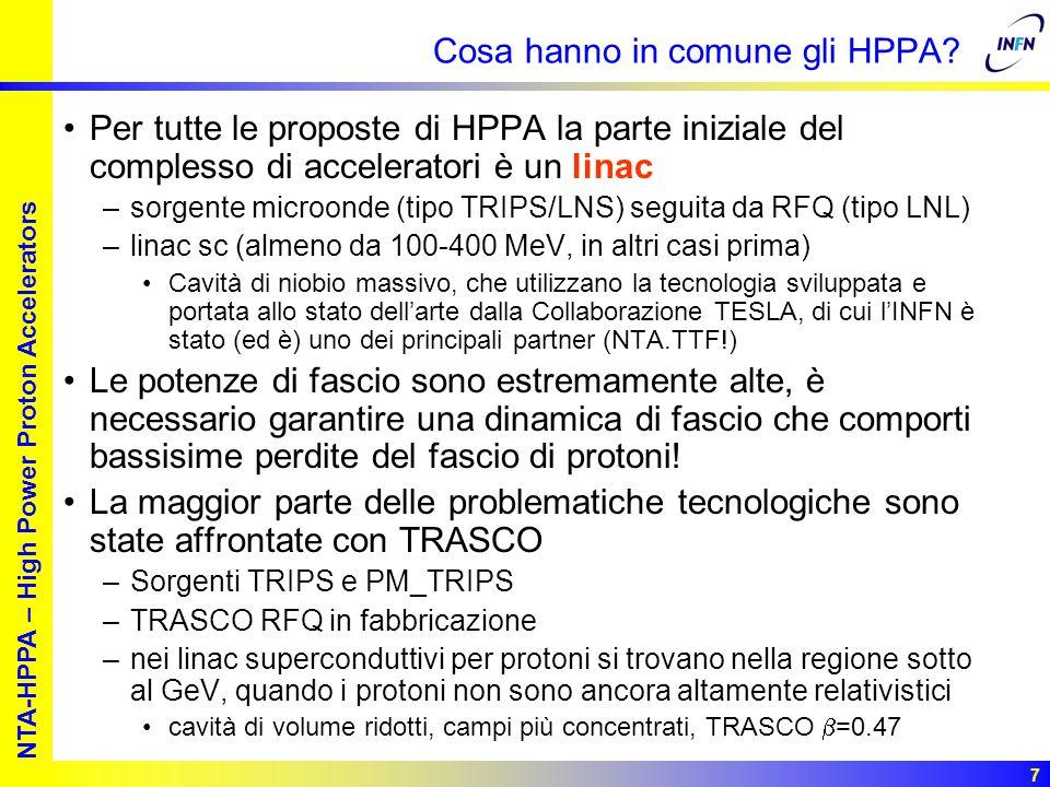 European studies for nuclear waste transmutation NTA-HPPA – High Power Proton Accelerators 8 Scopo di HPPA HPPA ha la funzione di –mantenere e sviluppare queste competenze conservando una sostanziale unità della collaborazione TRASCO, pur potendo i vari gruppi partecipare a progetti internazionali e nazionali diversi in base alle loro specifiche caratteristiche ed alle necessità dei rispettivi laboratori di appartenenza –fornire supporto programmatico INFN ai programmi Europei –complementare, quando necessario, le risorse strumentali e umane, fermo restando che le attività afferenti a HPPA troveranno, in generale, il grosso delle risorse alleesterno
