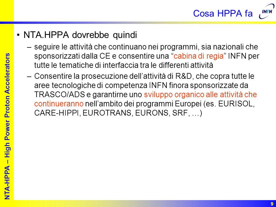 European studies for nuclear waste transmutation NTA-HPPA – High Power Proton Accelerators 9 Cosa HPPA fa NTA.HPPA dovrebbe quindi –seguire le attività che continuano nei programmi, sia nazionali che sponsorizzati dalla CE e consentire una cabina di regia INFN per tutte le tematiche di interfaccia tra le differenti attività –Consentire la prosecuzione dellattività di R&D, che copra tutte le aree tecnologiche di competenza INFN finora sponsorizzate da TRASCO/ADS e garantirne uno sviluppo organico alle attività che continueranno nellambito dei programmi Europei (es.