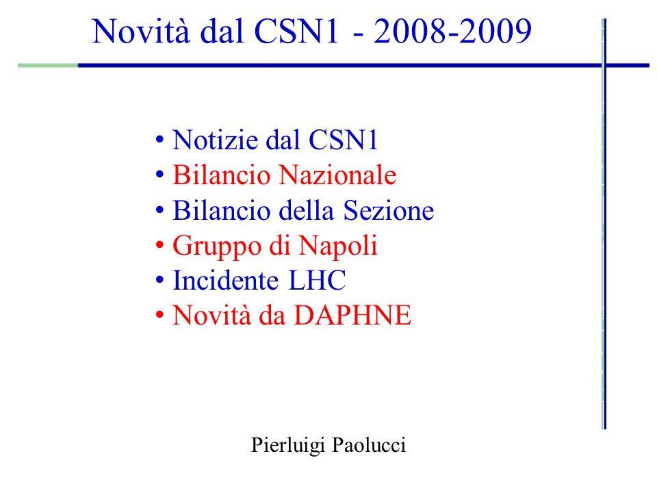 Novità dal CSN1 - 2008-2009 Pierluigi Paolucci Notizie dal CSN1 Bilancio Nazionale Bilancio della Sezione Gruppo di Napoli Incidente LHC Novità da DAPHNE