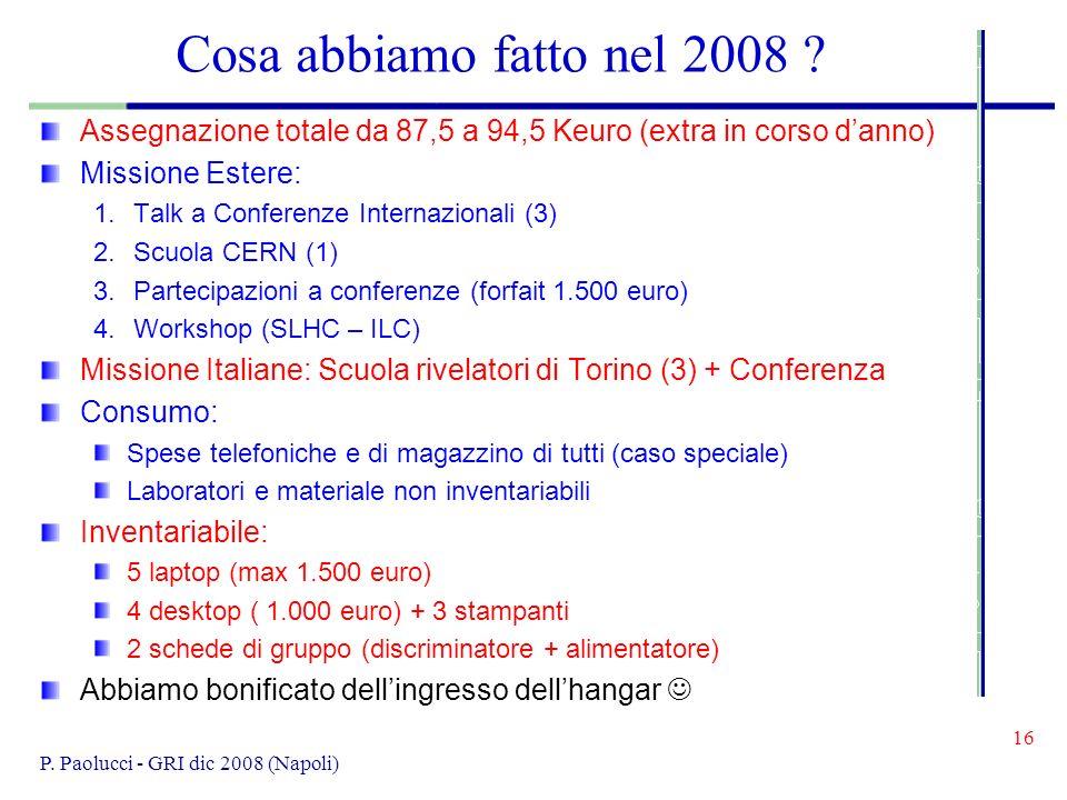 16 P. Paolucci - GRI dic 2008 (Napoli) Cosa abbiamo fatto nel 2008 .