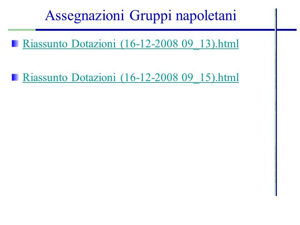 Assegnazioni Gruppi napoletani Riassunto Dotazioni (16-12-2008 09_13).html Riassunto Dotazioni (16-12-2008 09_15).html