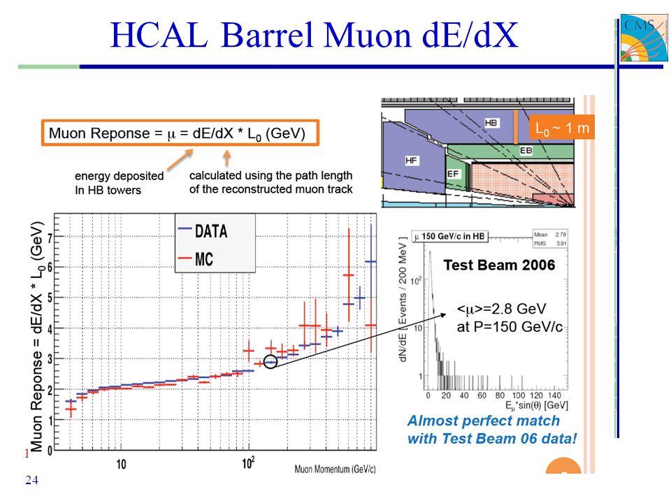 Pierluigi Paolucci 24 HCAL Barrel Muon dE/dX