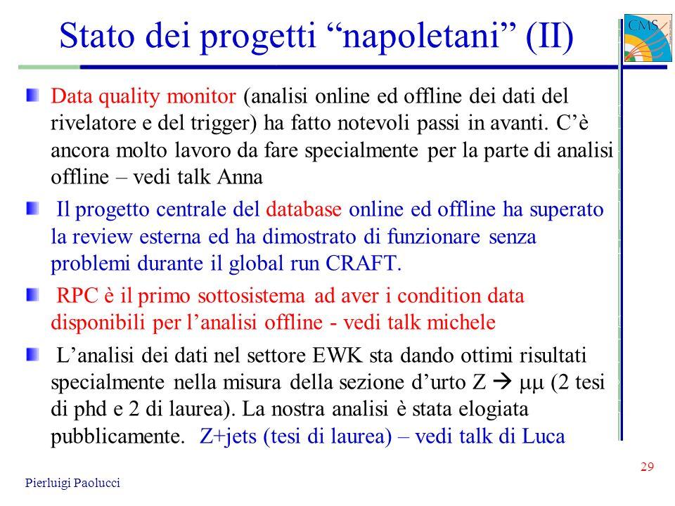 Stato dei progetti napoletani (II) Data quality monitor (analisi online ed offline dei dati del rivelatore e del trigger) ha fatto notevoli passi in a