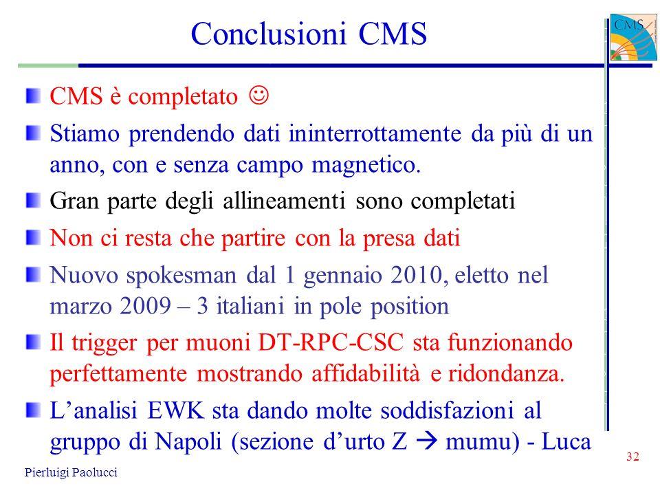 32 Pierluigi Paolucci Conclusioni CMS CMS è completato Stiamo prendendo dati ininterrottamente da più di un anno, con e senza campo magnetico. Gran pa