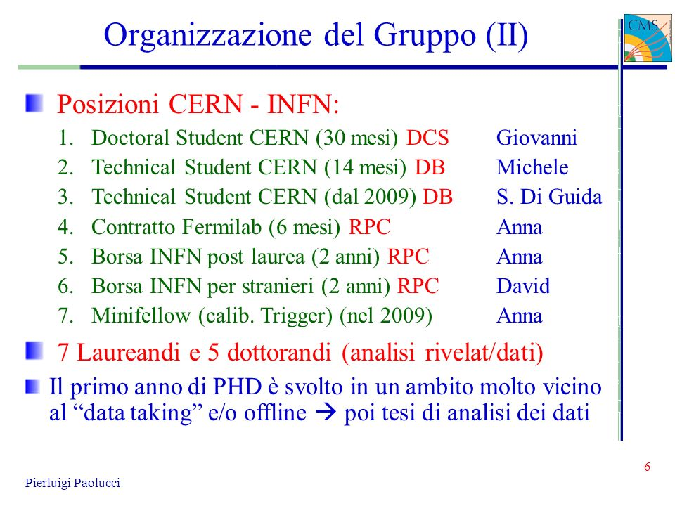 6 Pierluigi Paolucci Organizzazione del Gruppo (II) Posizioni CERN - INFN: 1.Doctoral Student CERN (30 mesi) DCSGiovanni 2.Technical Student CERN (14
