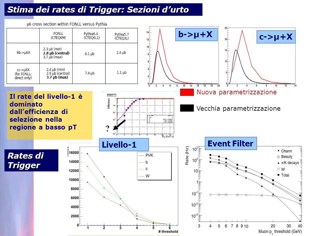 Stima dei rates di Trigger: Sezioni durto b-> µ+X c-> µ+X Nuova parametrizzazione Vecchia parametrizzazione Il rate del livello-1 è dominato dallefficienza di selezione nella regione a basso pT Rates di Trigger Event Filter Livello-1