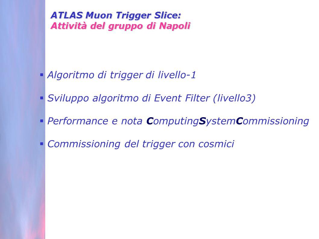 Algoritmo di trigger di livello-1 Sviluppo algoritmo di Event Filter (livello3) Performance e nota ComputingSystemCommissioning Commissioning del trigger con cosmici ATLAS Muon Trigger Slice: Attività del gruppo di Napoli