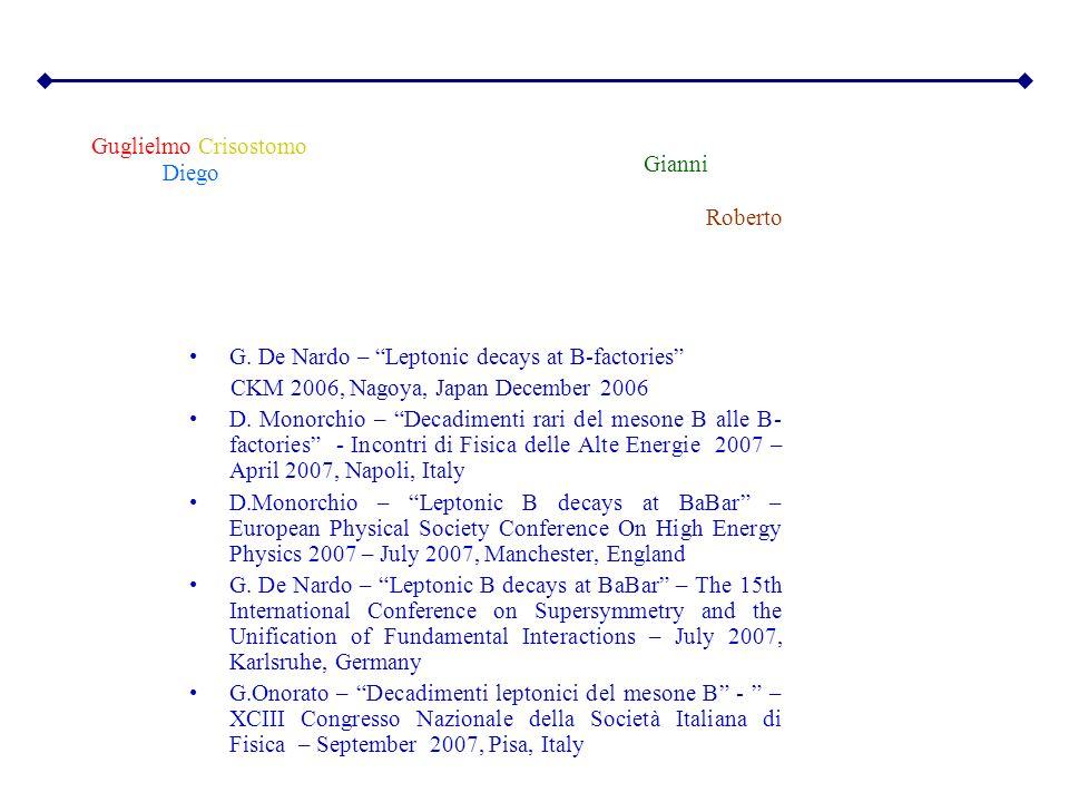 Guglielmo Gianni Diego Roberto Crisostomo G. De Nardo – Leptonic decays at B-factories CKM 2006, Nagoya, Japan December 2006 D. Monorchio – Decadiment