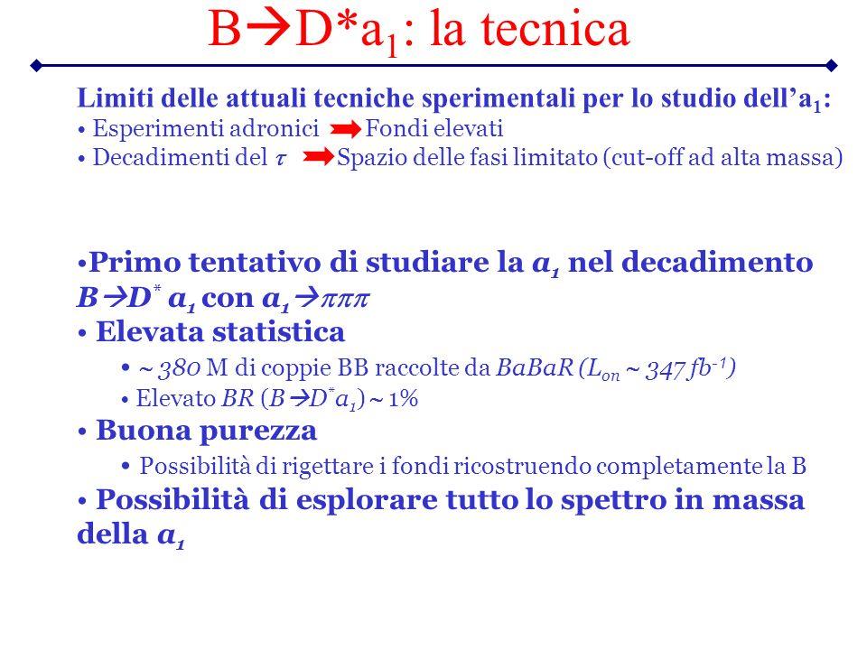 B D*a 1 : la tecnica Primo tentativo di studiare la a 1 nel decadimento B D * a 1 con a 1 Elevata statistica 380 M di coppie BB raccolte da BaBaR (L o