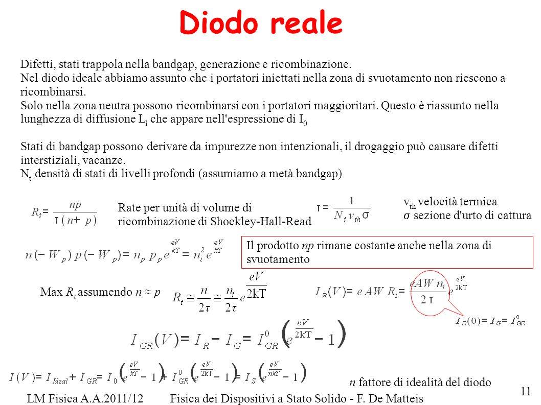 LM Fisica A.A.2011/12Fisica dei Dispositivi a Stato Solido - F. De Matteis Diodo reale Difetti, stati trappola nella bandgap, generazione e ricombinaz