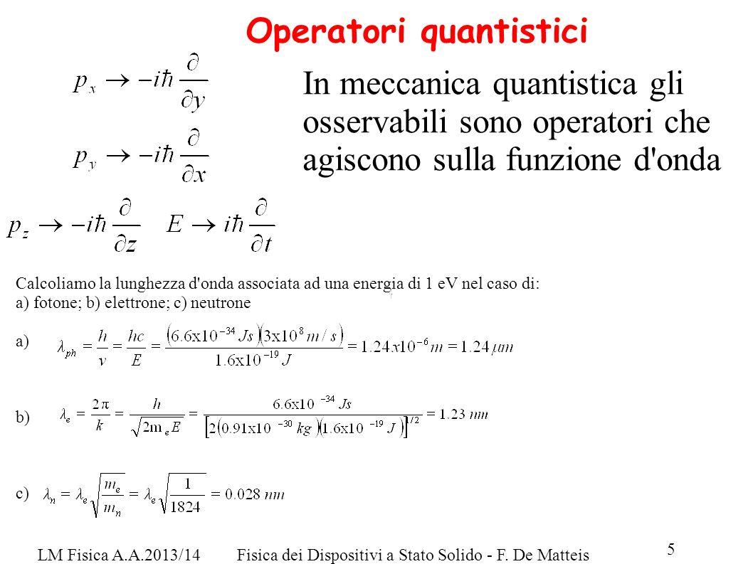LM Fisica A.A.2013/14Fisica dei Dispositivi a Stato Solido - F. De Matteis 5 Operatori quantistici In meccanica quantistica gli osservabili sono opera