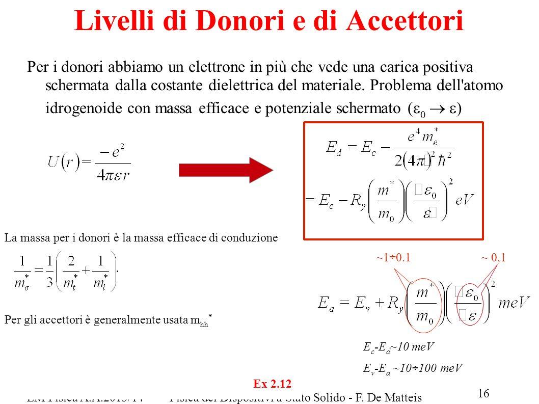 LM Fisica A.A.2013/14Fisica dei Dispositivi a Stato Solido - F. De Matteis 16 Per i donori abbiamo un elettrone in più che vede una carica positiva sc