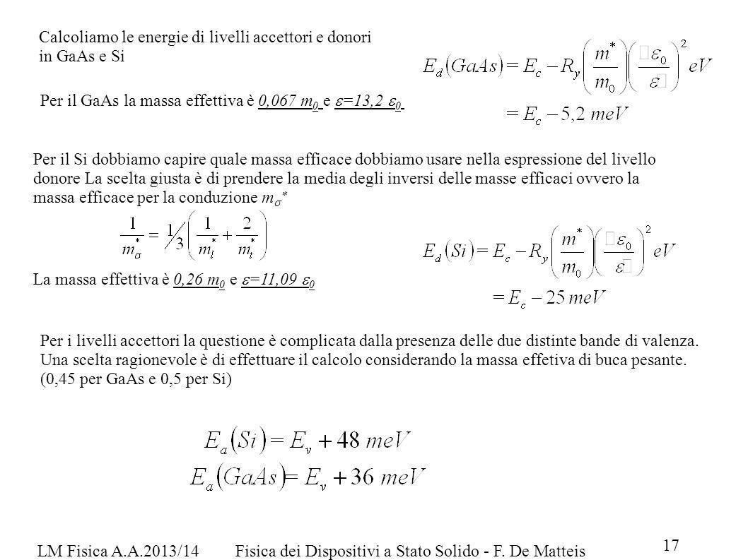 LM Fisica A.A.2013/14Fisica dei Dispositivi a Stato Solido - F. De Matteis 17 Calcoliamo le energie di livelli accettori e donori in GaAs e Si Per il
