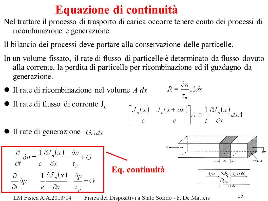 LM Fisica A.A.2013/14Fisica dei Dispositivi a Stato Solido - F. De Matteis 15 Equazione di continuità Nel trattare il processo di trasporto di carica
