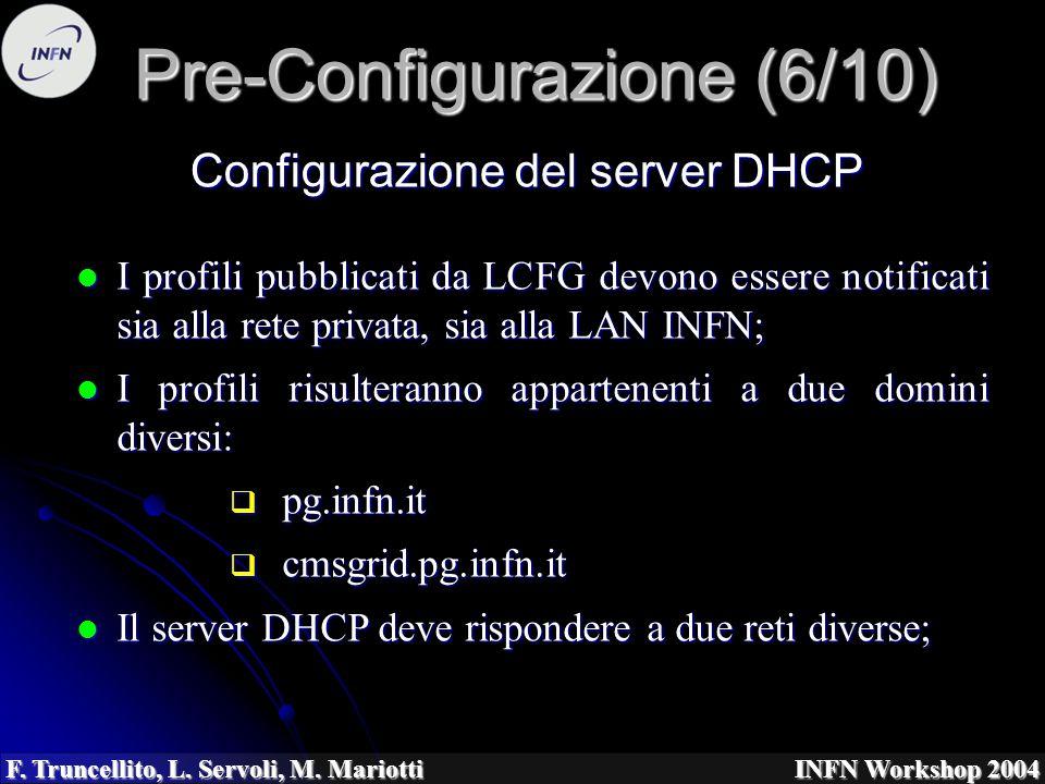 F. Truncellito, L. Servoli, M. Mariotti INFN Workshop 2004 Pre-Configurazione (6/10) I profili pubblicati da LCFG devono essere notificati sia alla re