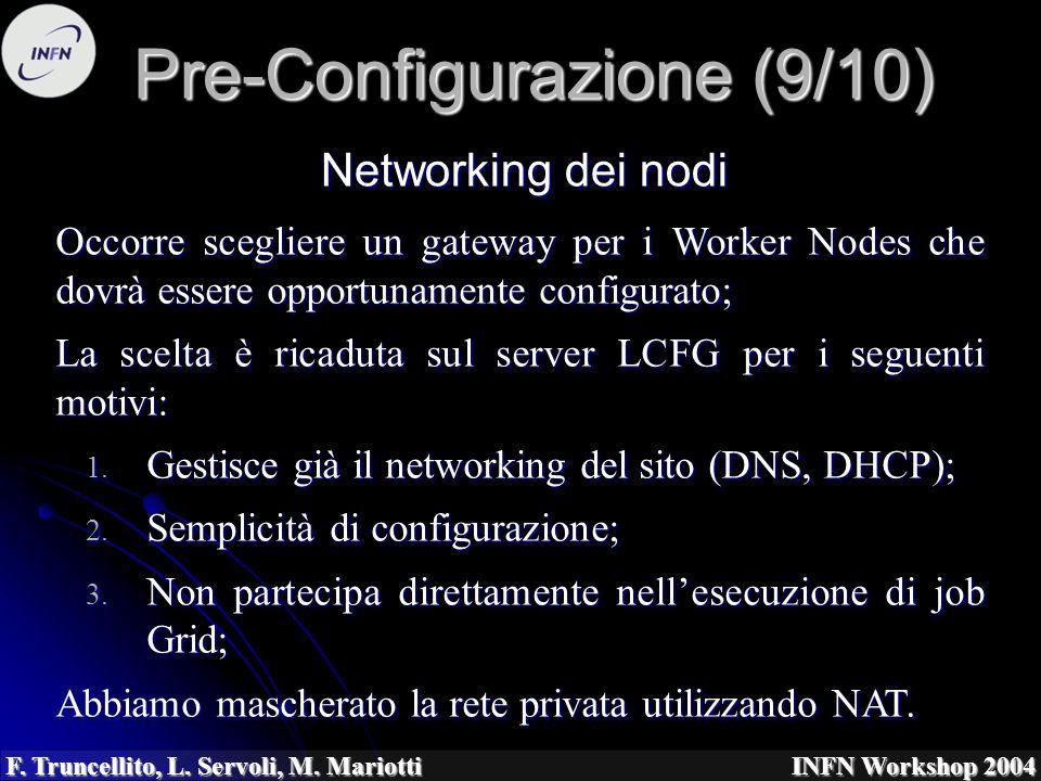F. Truncellito, L. Servoli, M. Mariotti INFN Workshop 2004 Pre-Configurazione (9/10) Occorre scegliere un gateway per i Worker Nodes che dovrà essere