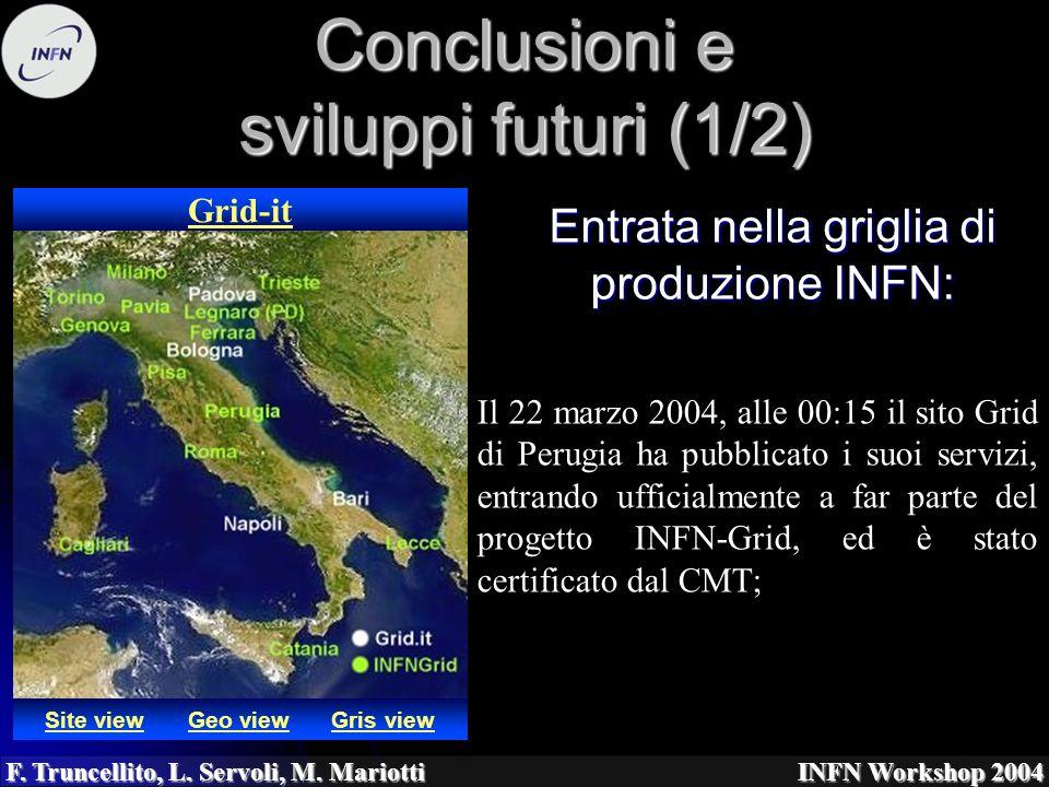 F. Truncellito, L. Servoli, M. Mariotti INFN Workshop 2004 Conclusioni e sviluppi futuri (1/2) Entrata nella griglia di produzione INFN: Site viewGeo