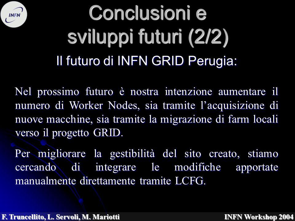 F. Truncellito, L. Servoli, M. Mariotti INFN Workshop 2004 Conclusioni e sviluppi futuri (2/2) Il futuro di INFN GRID Perugia: Nel prossimo futuro è n