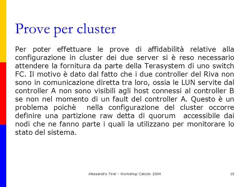 Alessandro Tirel - Workshop Calcolo 200415 Prove per cluster Per poter effettuare le prove di affidabilità relative alla configurazione in cluster dei