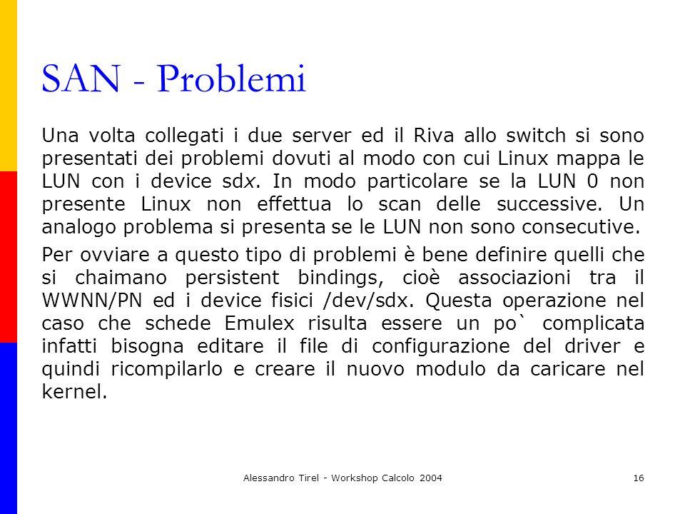 Alessandro Tirel - Workshop Calcolo 200416 SAN - Problemi Una volta collegati i due server ed il Riva allo switch si sono presentati dei problemi dovu