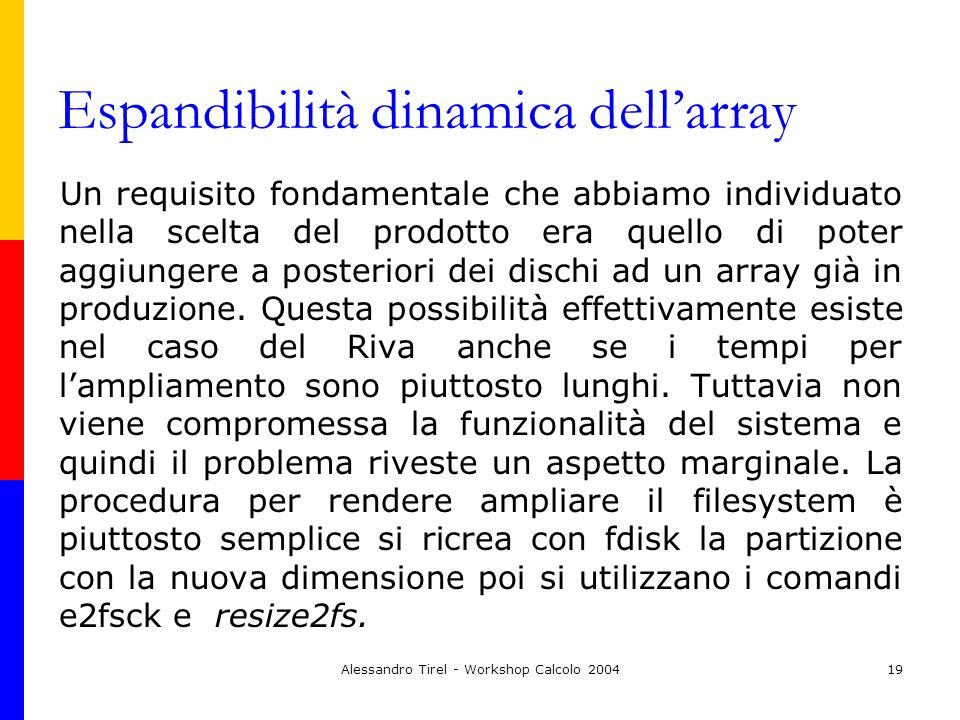 Alessandro Tirel - Workshop Calcolo 200419 Espandibilità dinamica dellarray Un requisito fondamentale che abbiamo individuato nella scelta del prodott