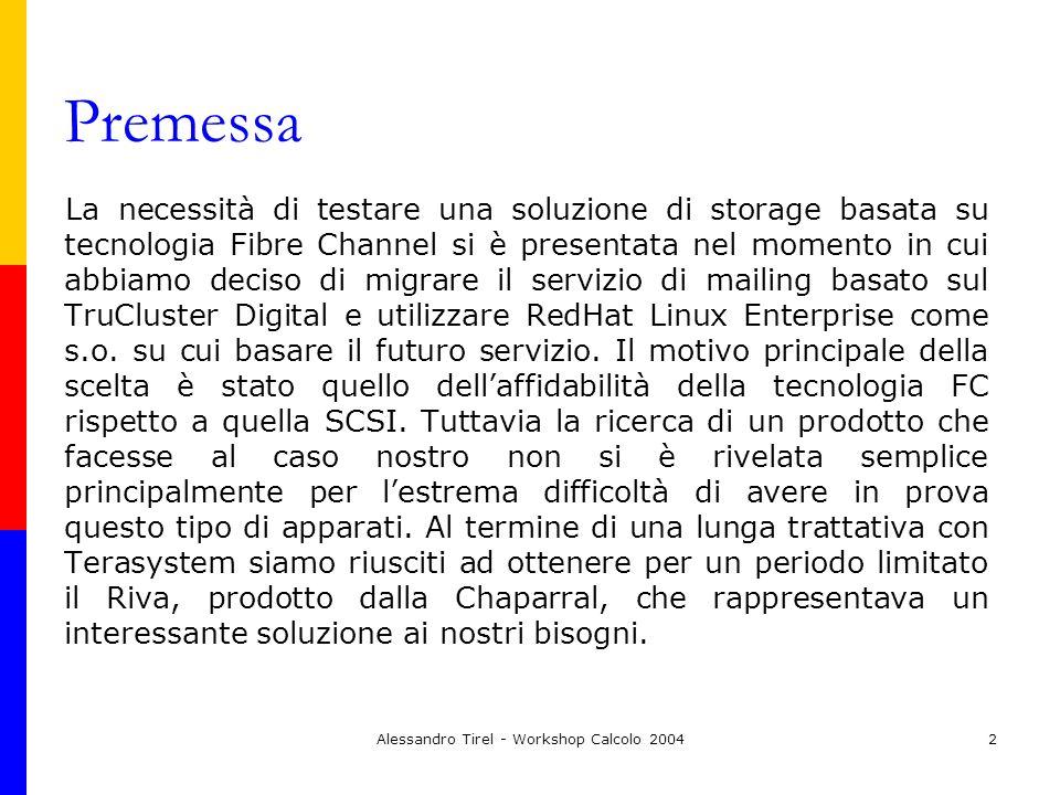 Alessandro Tirel - Workshop Calcolo 20042 Premessa La necessità di testare una soluzione di storage basata su tecnologia Fibre Channel si è presentata