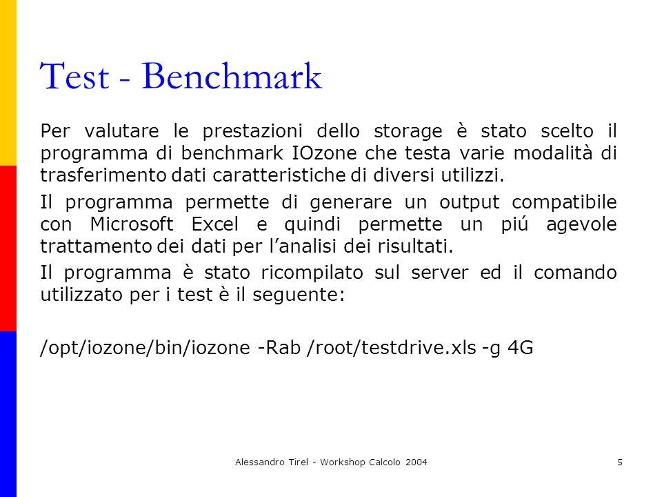 Alessandro Tirel - Workshop Calcolo 20046 Risultati Sono stati utilizzati due tipi di file system journaled per i test: ext3 e jfs che viene indicato dai produttori di IOzone come il piú performante nella maggioranza dei test.