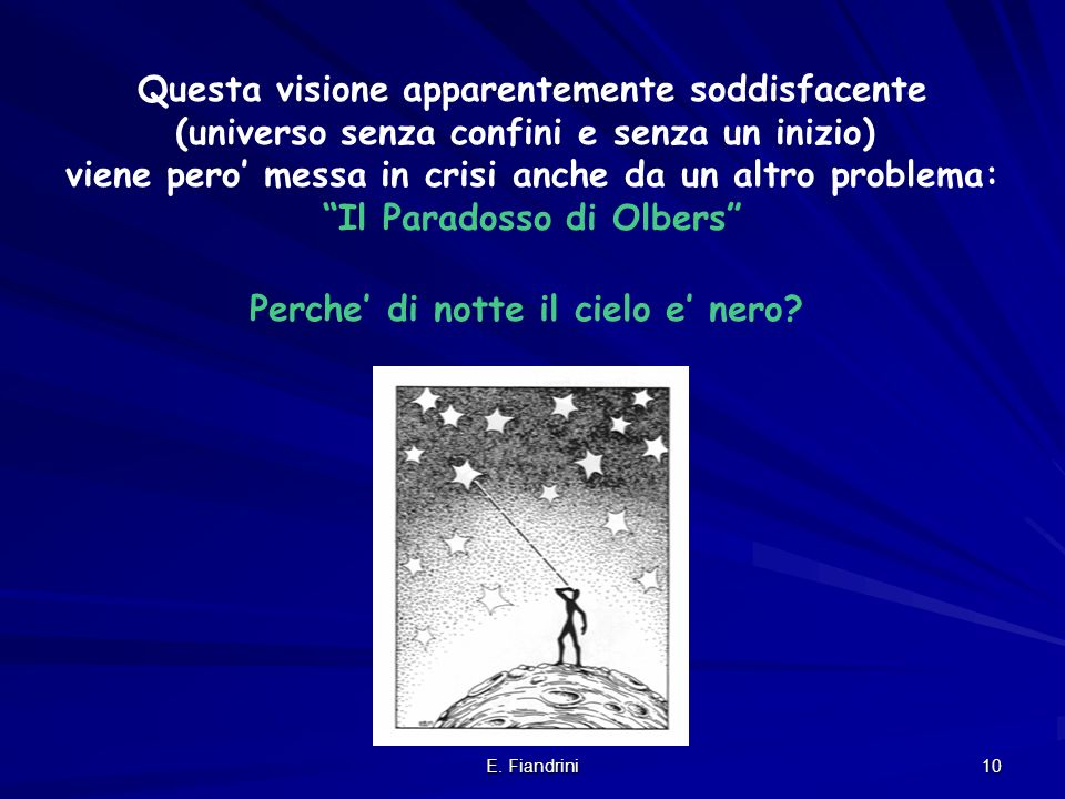 E. Fiandrini 9 Newtons Universe In order to avoid collapse –homogeneous –isotropic –infinite size –no center infinite in time –has always been –will a