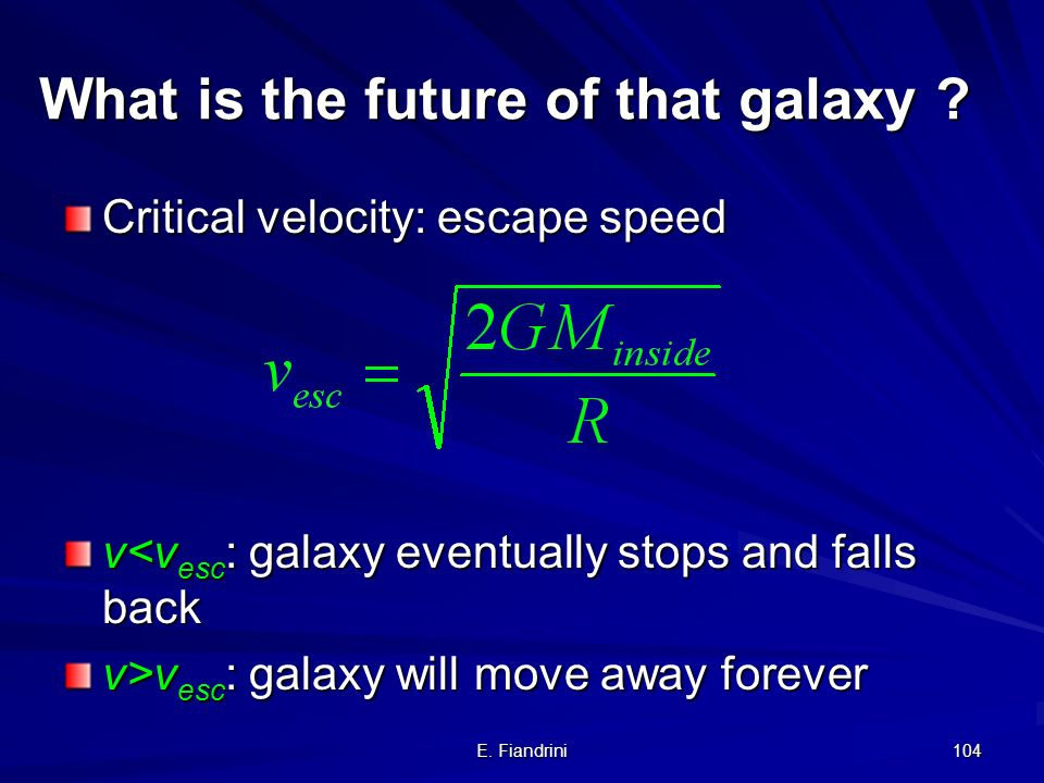 E. Fiandrini 103 Newton analogy The galaxy is subjected to gravitational force of the mass inside the radius