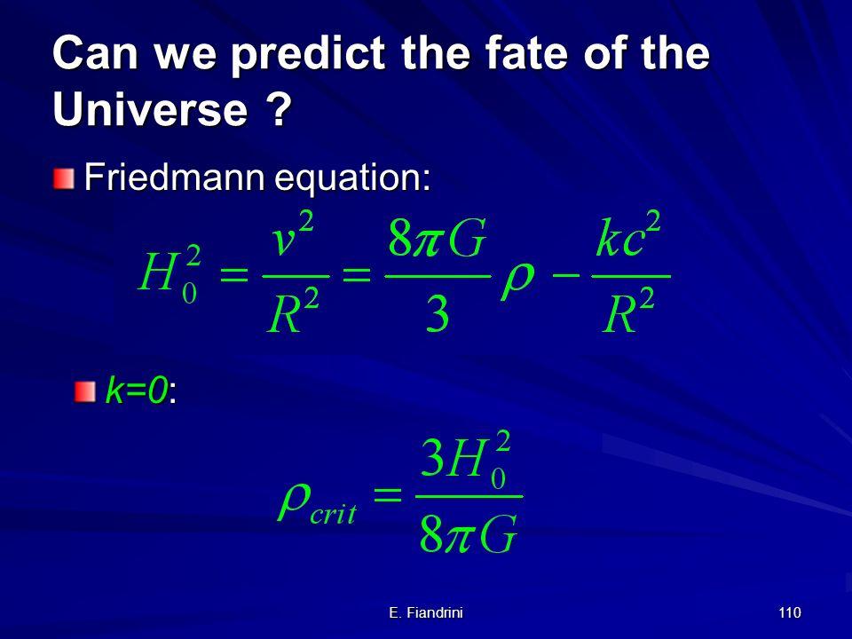 E. Fiandrini 109 Il nostro universo continuera ad espandersi?... oppure si fermera? o collassera su se stesso? Densita critica Le osservazioni attuali