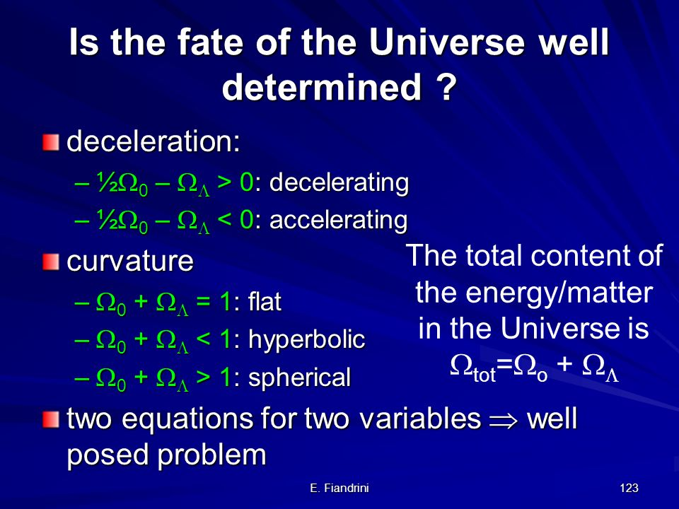 E. Fiandrini 122 Deceleration parameter q for >0 Acceleration according to Newton: deceleration parameter with If there is a cosmological constant, th
