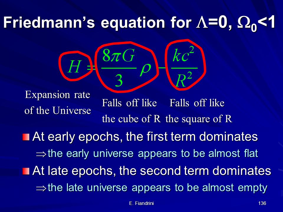 E. Fiandrini 135 So is the big crunch the same as the big bang run in reverse ? No. The Universe has meanwhile formed stars, black holes, galaxies etc