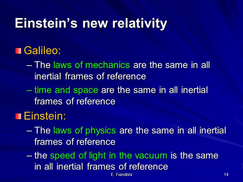 E. Fiandrini 13 Oggi conosciamo la soluzione: -la velocita della luce e finita - Quello che vediamo sono immagini lontane che appartengono ad un Unive