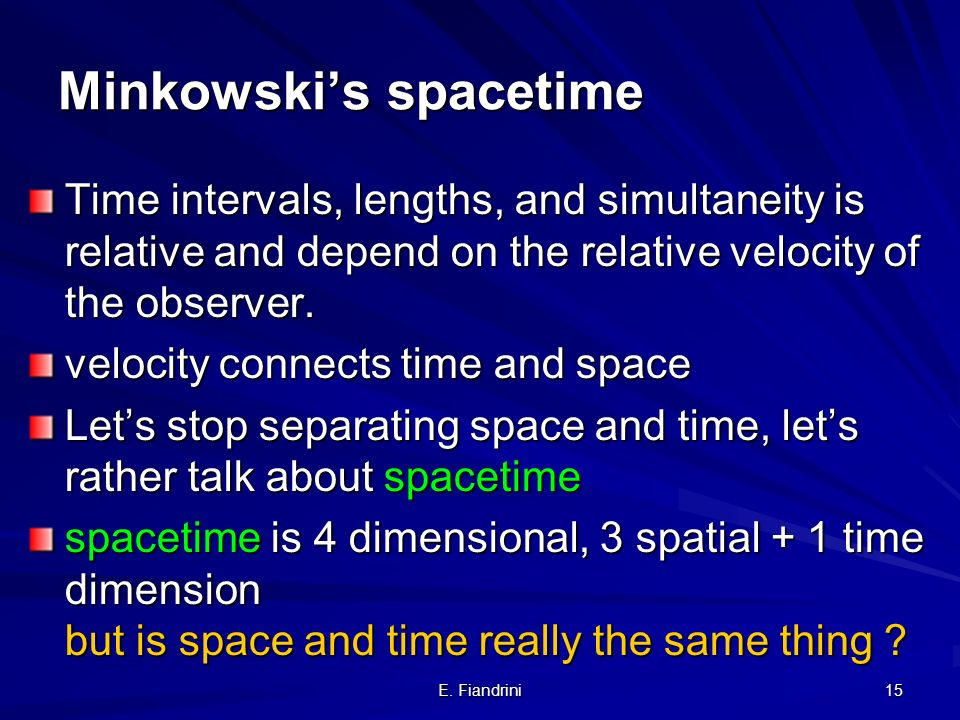 E. Fiandrini 14 Einsteins new relativity Galileo: –The laws of mechanics are the same in all inertial frames of reference –time and space are the same