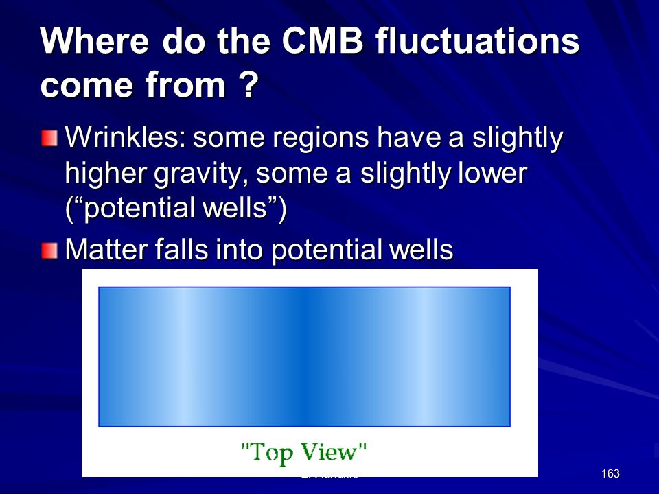 E. Fiandrini 162 Where do the CMB fluctuations come from ? Wrinkles: some regions have a slightly higher gravity, some a slightly lower (potential wel